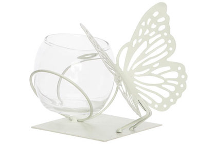 THEELICHTHOUDER BUTTERFLY 1X GLASS CUP D8-H7CM MINT 13X13XH12CM ROND METAAL