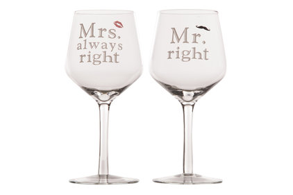 REUZE WIJNGLAS MR AND MRS RIGHT 2ASS9.2X20.8CM