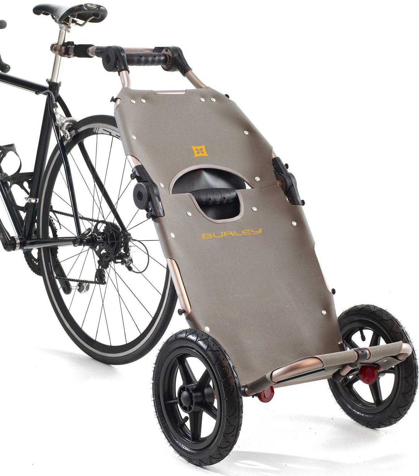 Image of 2014 Burley Travoy Folding Cargo Bike Trailer in Yellow (Colour: grey)