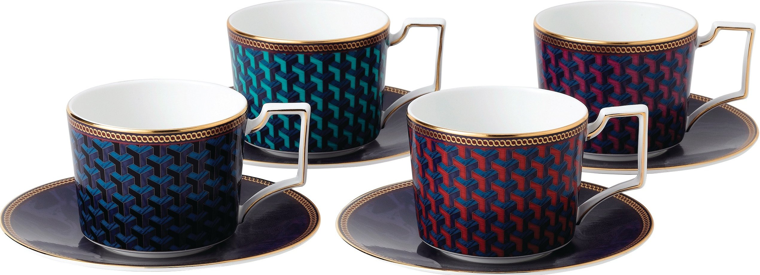 Wedgwood Byzance espresso cup and saucer - set of 4