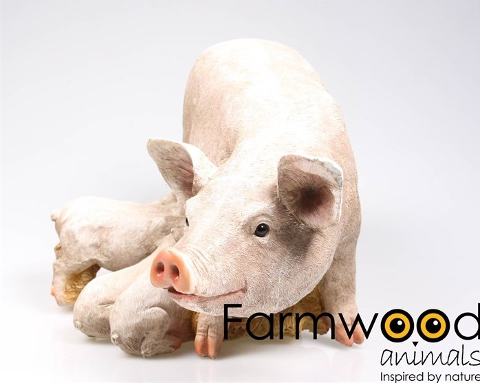Farmwood Animals Varken met Biggetjes tuinbeeld