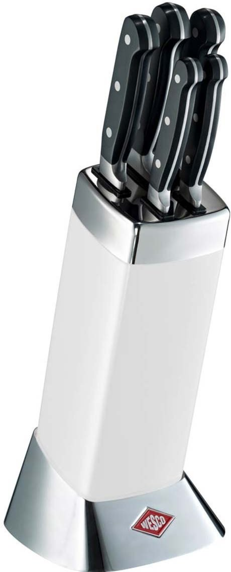 Image of Wesco Classic Line knife block with knives (Colour: white)